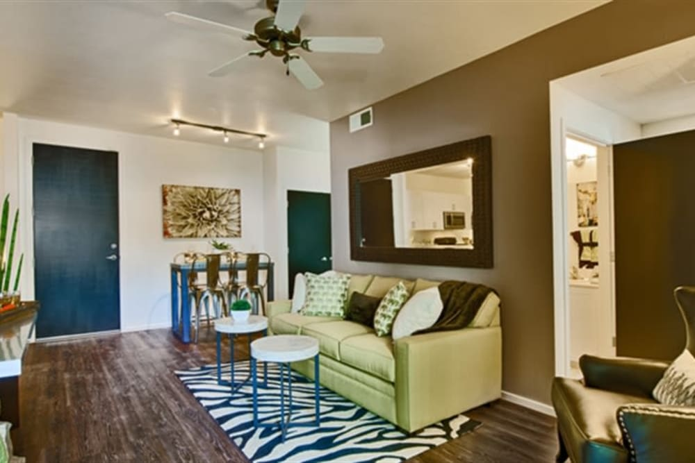 Ceiling fan and hardwood flooring in a model home at Cactus Forty-2 in Phoenix, Arizona
