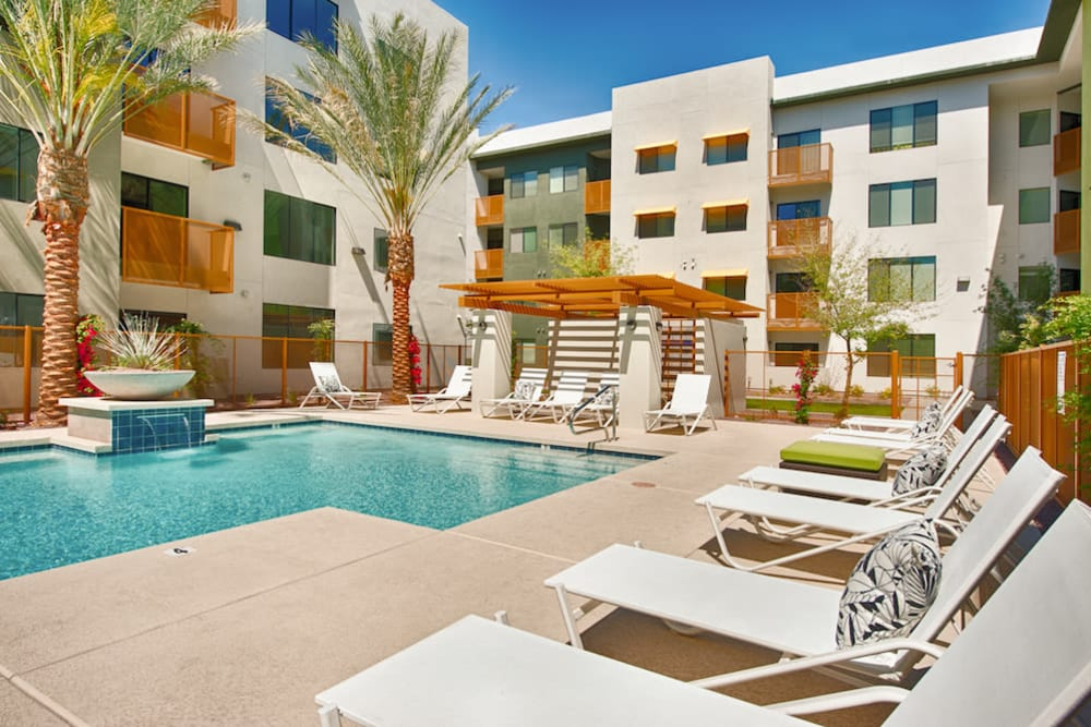 Resort-style swimming pool at Cactus Forty-2 in Phoenix, Arizona