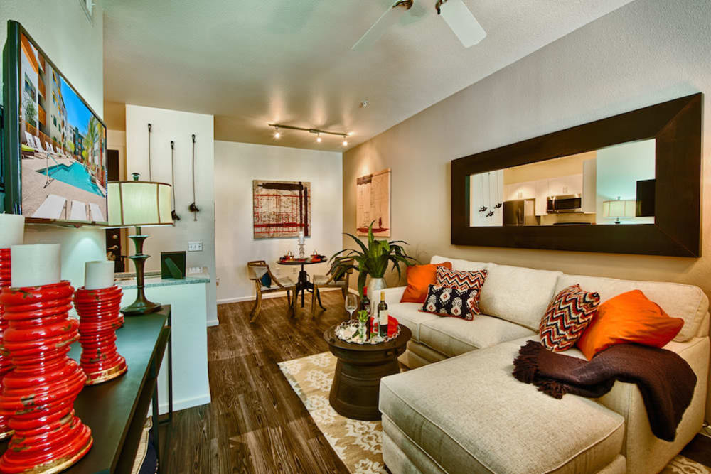 Well-furnished model home's living space at Cactus Forty-2 in Phoenix, Arizona