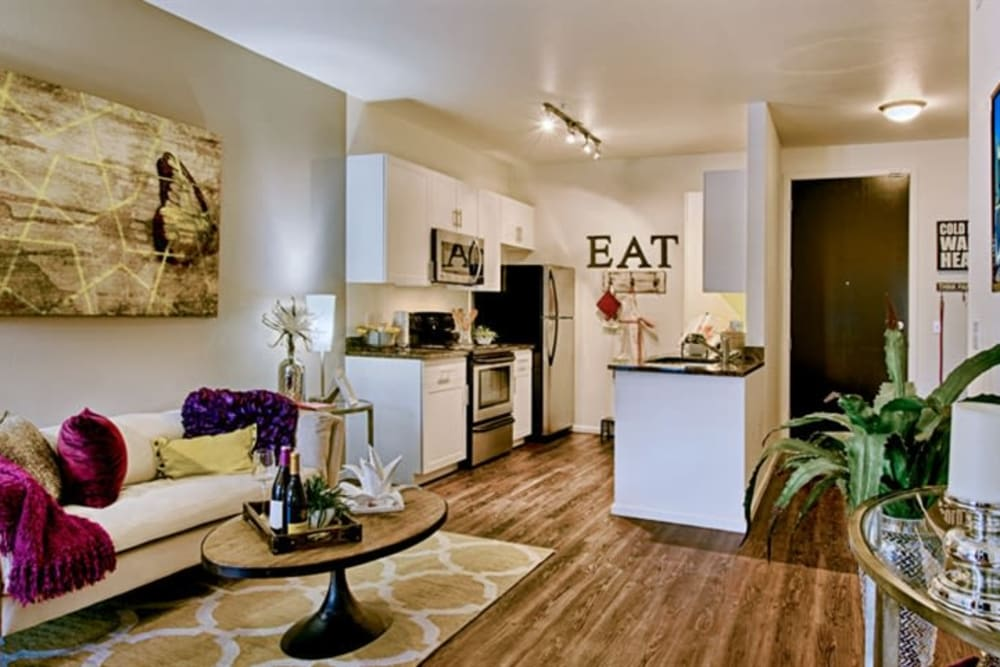 Modern furnishings in the living area of a model home at Cactus Forty-2 in Phoenix, Arizona