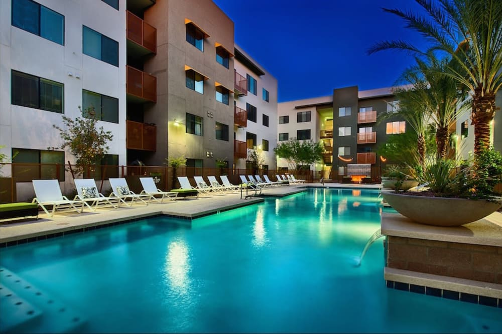 Pool area in the evening at Cactus Forty-2 in Phoenix, Arizona