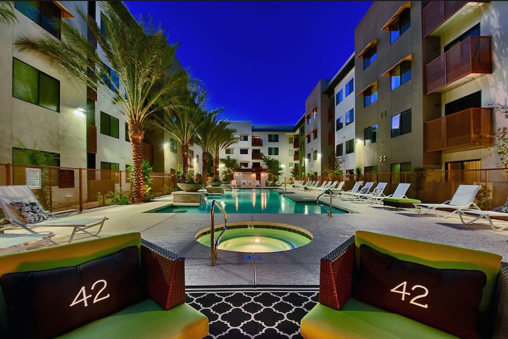 Spa near the pool at night at Cactus Forty-2 in Phoenix, Arizona