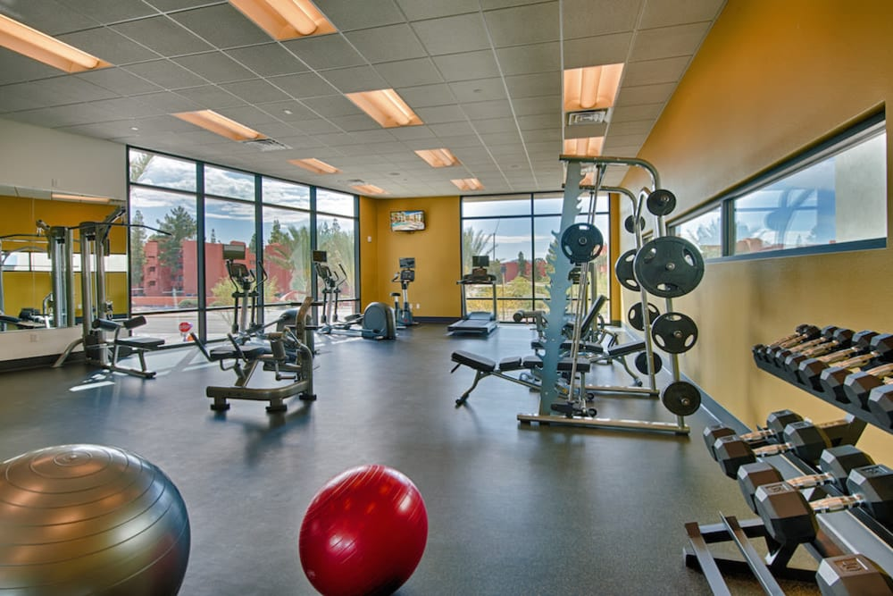 Well-equipped onsite fitness center at Cactus Forty-2 in Phoenix, Arizona