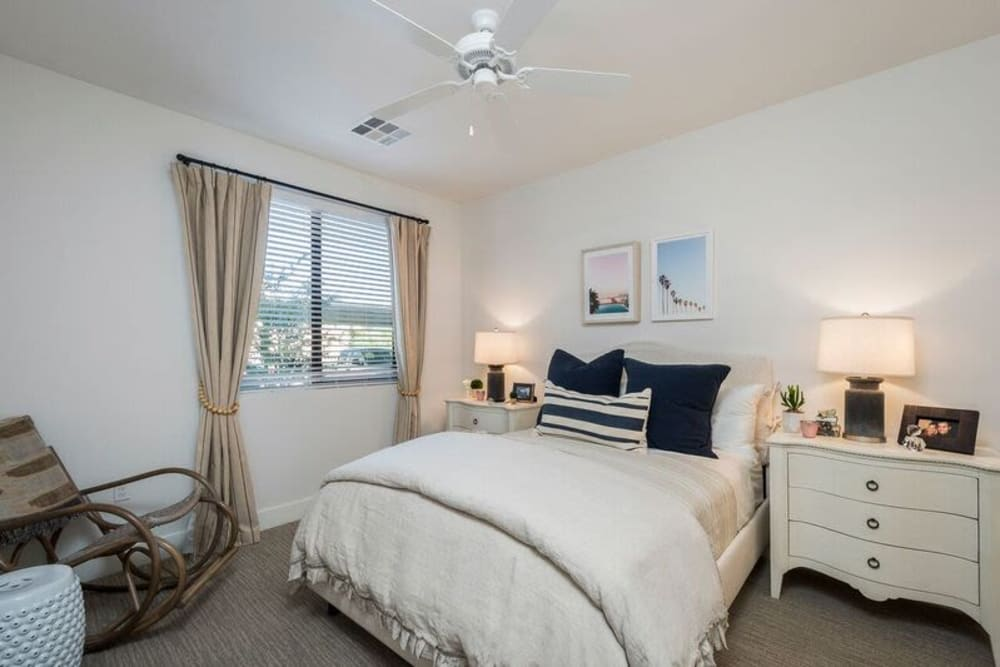 Comfortably furnished model home's bedroom at Cadia Crossing in Gilbert, Arizona