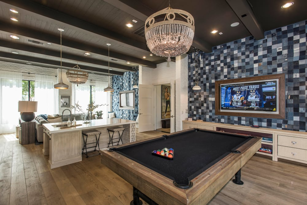 Billiards table and more in the clubhouse at Cadia Crossing in Gilbert, Arizona