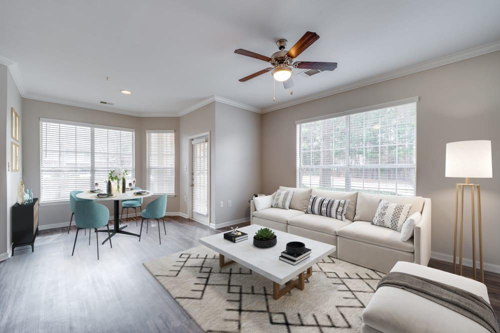 Bright living room at Preston View in Morrisville, North Carolina