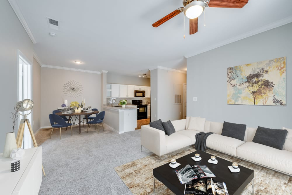 Living room layout at Preston View in Morrisville, North Carolina