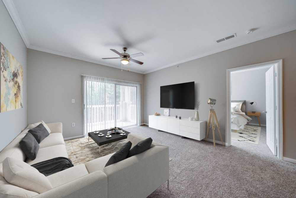 Two bedroom living room at Preston View in Morrisville, North Carolina
