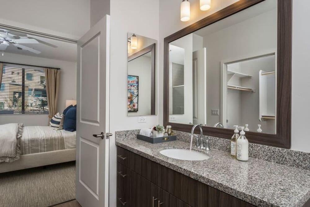 Granite countertop in a model home's bathroom at Cadia Crossing in Gilbert, Arizona