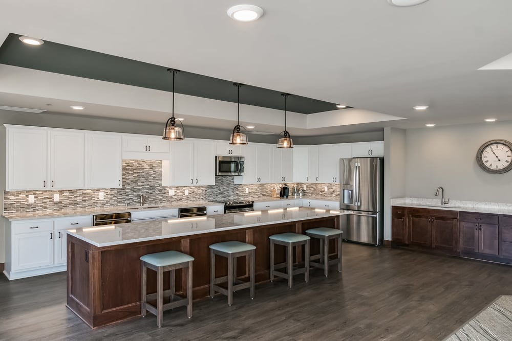 A casual resident kitchen at Applewood Pointe Maple Grove at Arbor Lakes in Maple Grove, Minnesota.