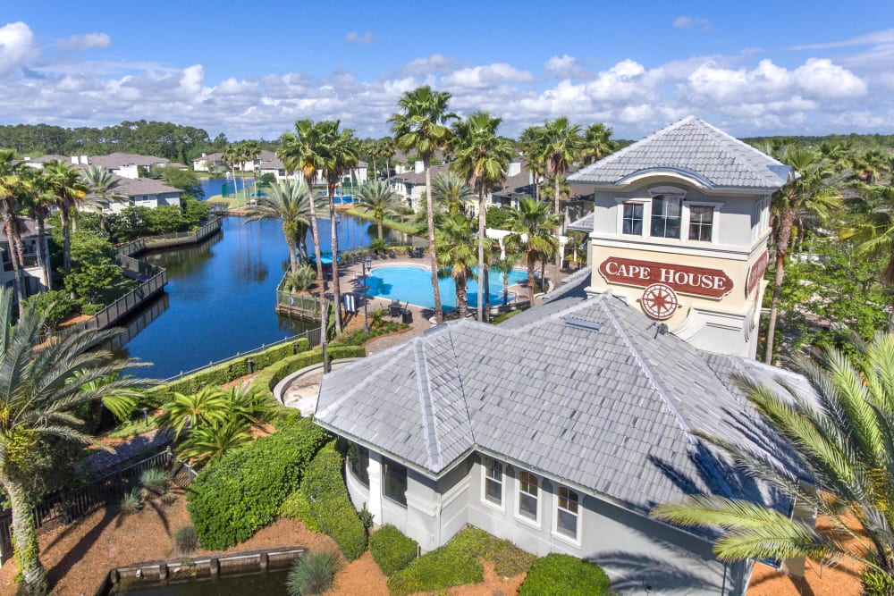 Aerial view of our luxury community with a lake at Cape House in Jacksonville, Florida