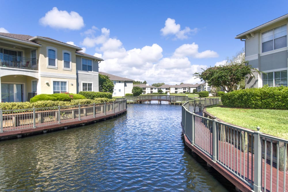Resident buildings on the water at Cape House in Jacksonville, Florida