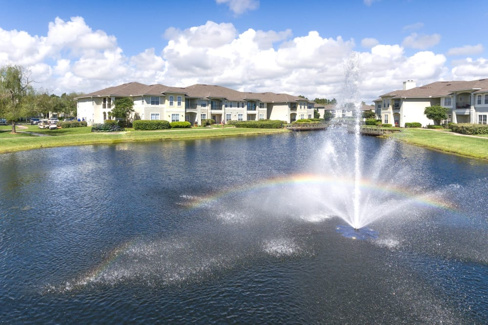 Fountain in the middle of the lake at Cape House in Jacksonville, Florida