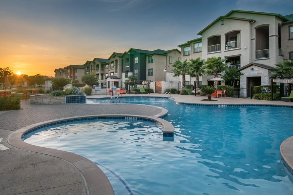 Sunrise at the swimming pool at Carrington Oaks in Buda, Texas
