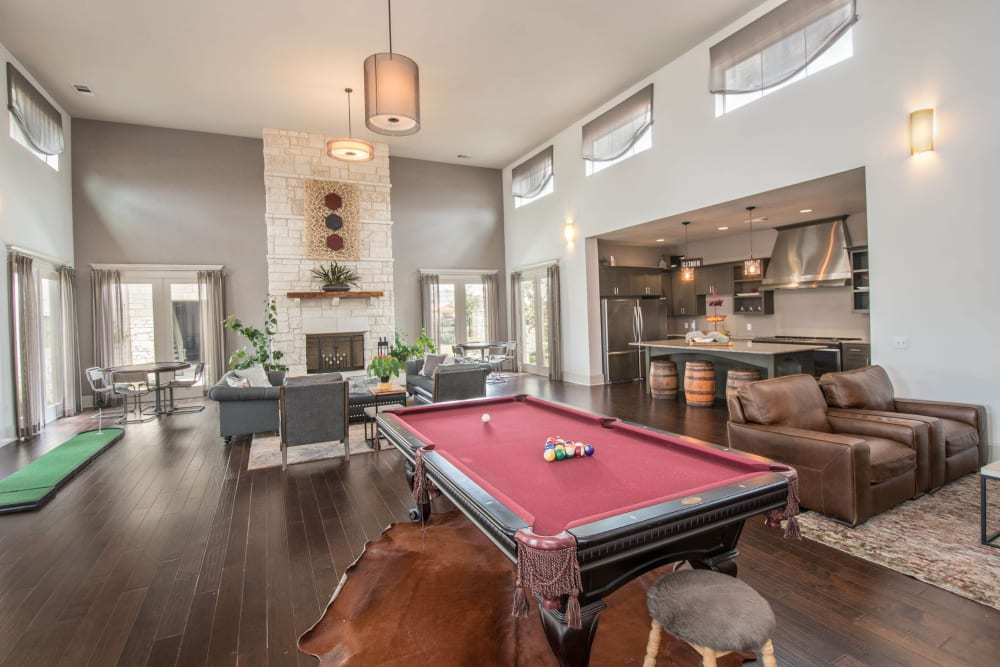 Billiards table in the clubhouse game room at Carrington Oaks in Buda, Texas