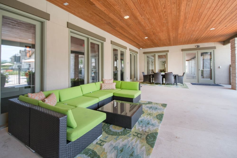 Covered lounge outside the clubhouse at Carrington Oaks in Buda, Texas