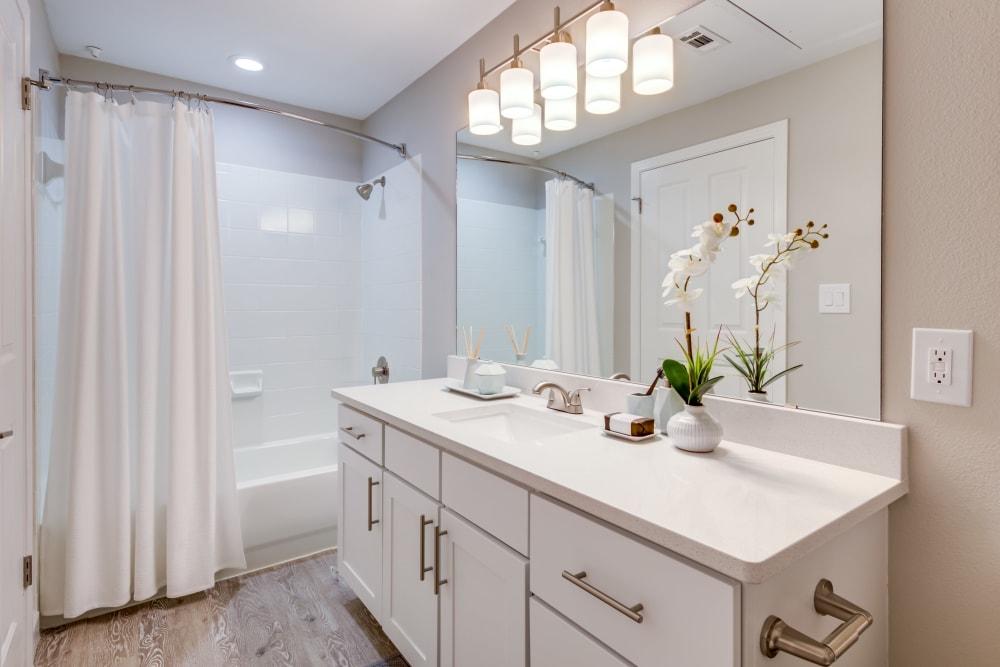 Sleek bathroom at Riata Austin in Austin, Texas