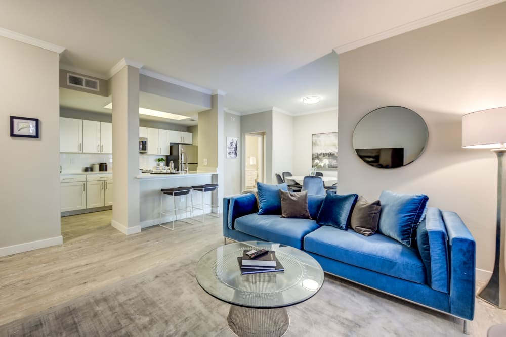 Sleek living room at Riata Austin in Austin, Texas