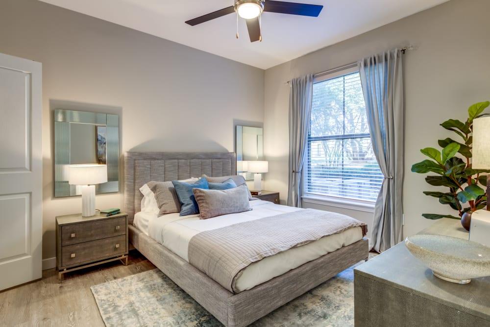 Sleek bedroom at Riata Austin in Austin, Texas