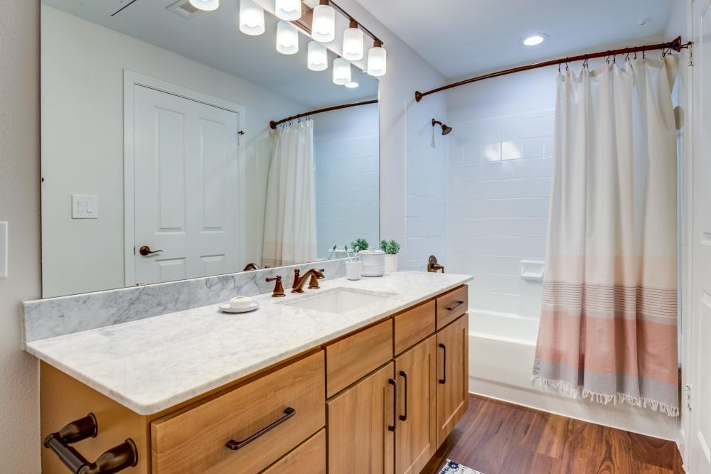 Rustic bathroom at Riata Austin in Austin, Texas