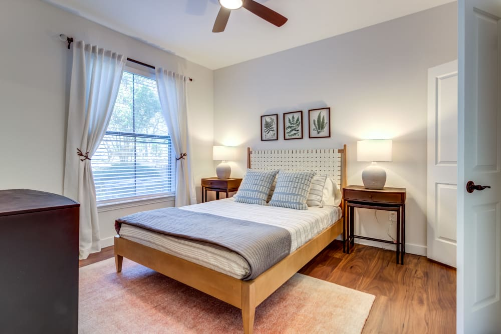 Rustic bedroom at Riata Austin in Austin, Texas