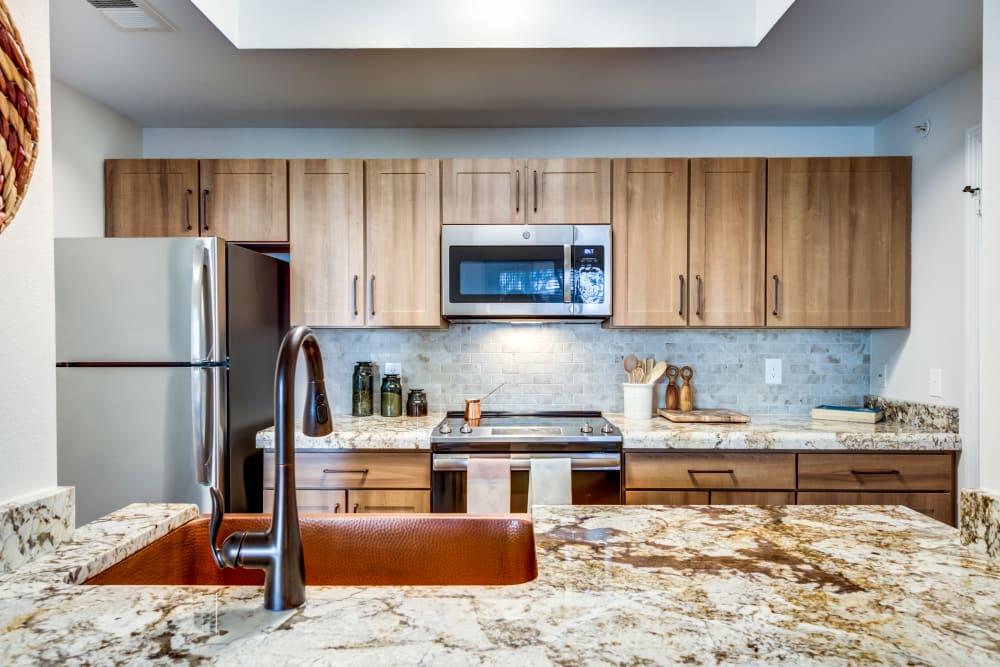 Rustic kitchen at Riata Austin in Austin, Texas