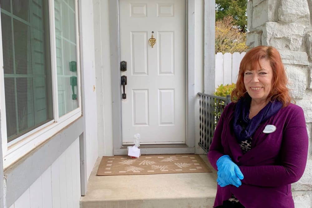Clearwater staff leaves care package on resident's porch