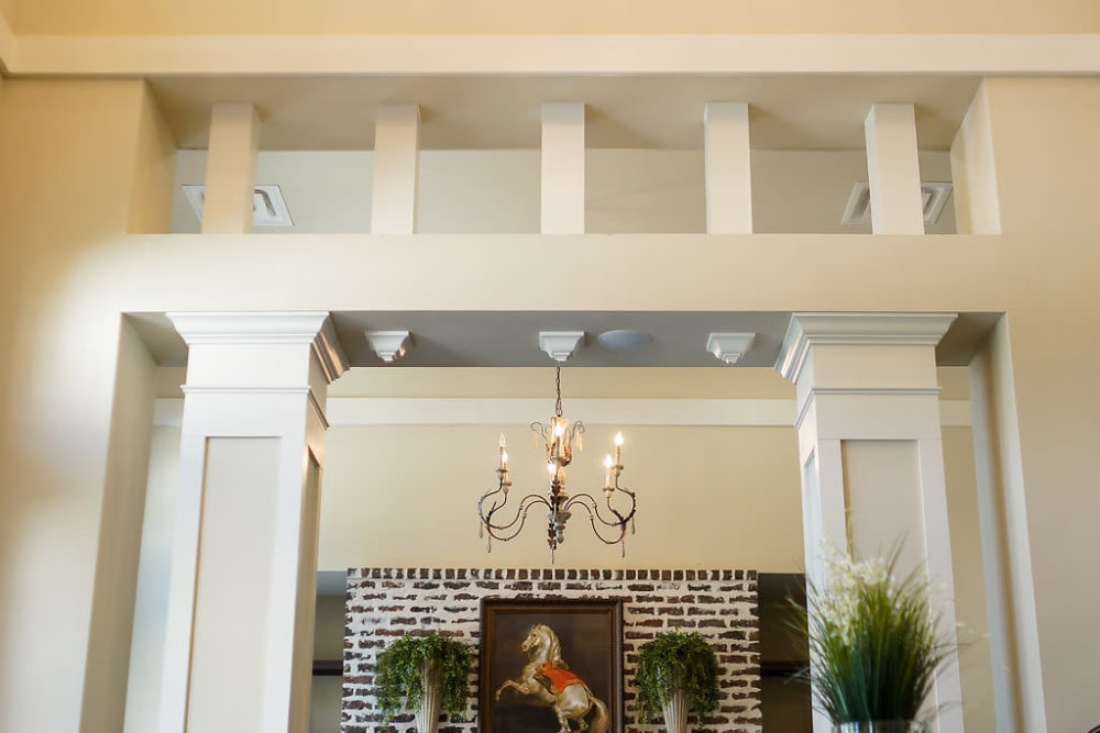 Beautiful foyer at front entrance at The Claiborne at Hattiesburg Independent Living in Hattiesburg, Mississippi