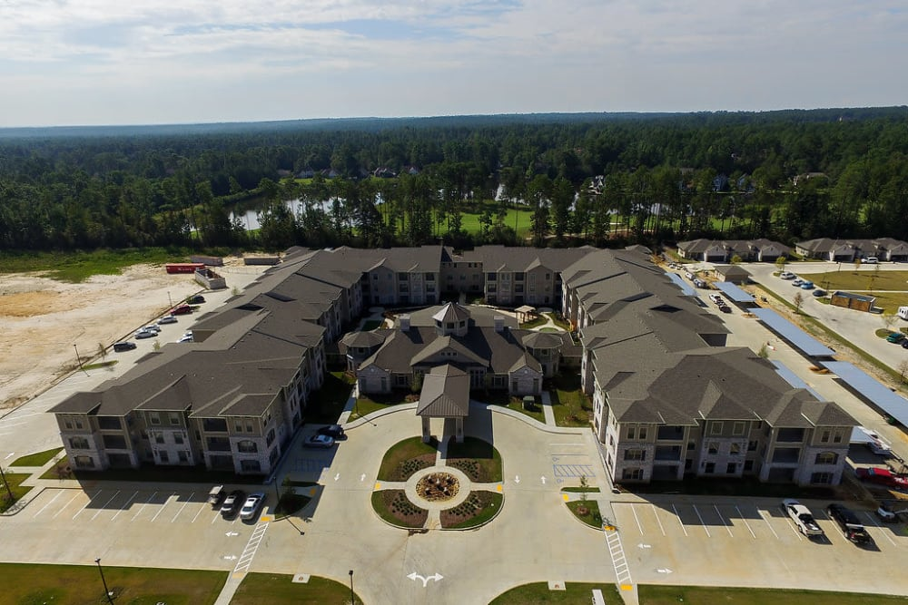 Aerial view of the entire building at The Claiborne at Hattiesburg Independent Living in Hattiesburg, Mississippi