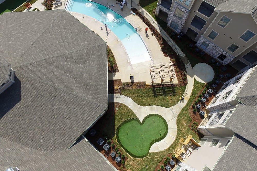 Aerial view from above the middle of the building at The Claiborne at Hattiesburg Independent Living in Hattiesburg, Mississippi