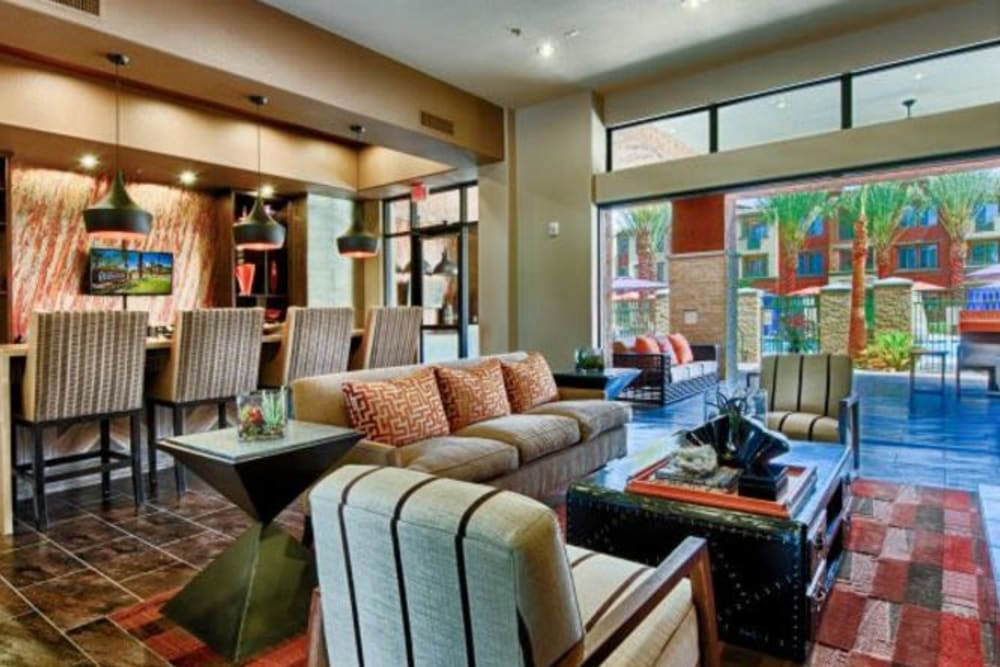 Colorful decor in the resident clubhouse at Elevation Chandler in Chandler, Arizona