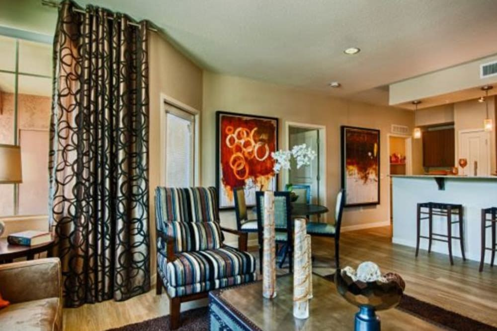 Avant garde furnishings in the living area of a model home at Elevation Chandler in Chandler, Arizona