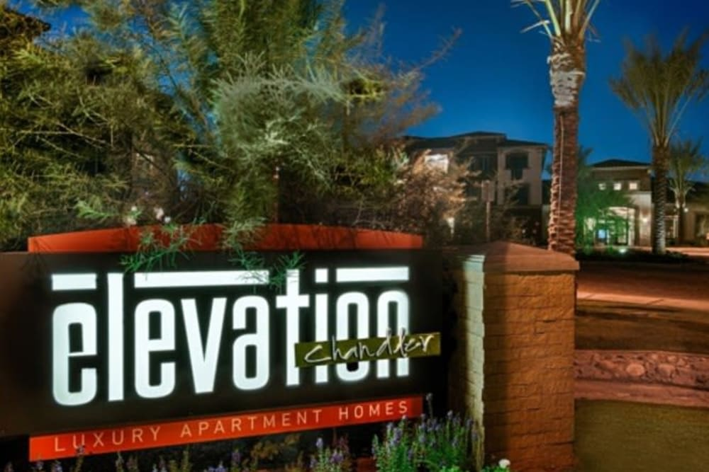 Our sign welcoming residents home to Elevation Chandler in Chandler, Arizona