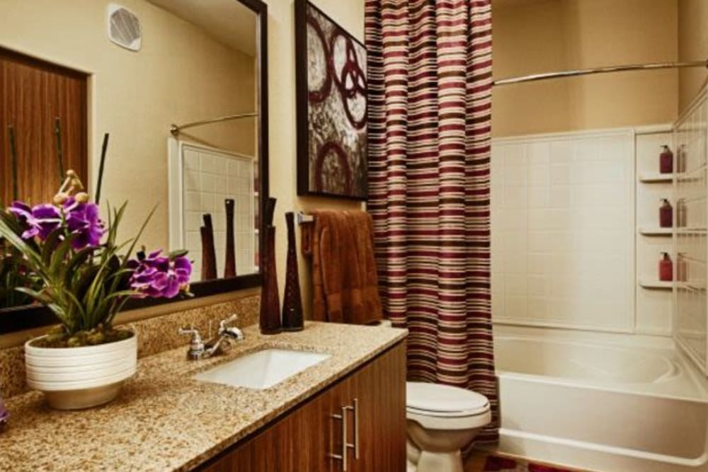 Granite countertop and a tiled shower in the bathroom of a model home at Elevation Chandler in Chandler, Arizona