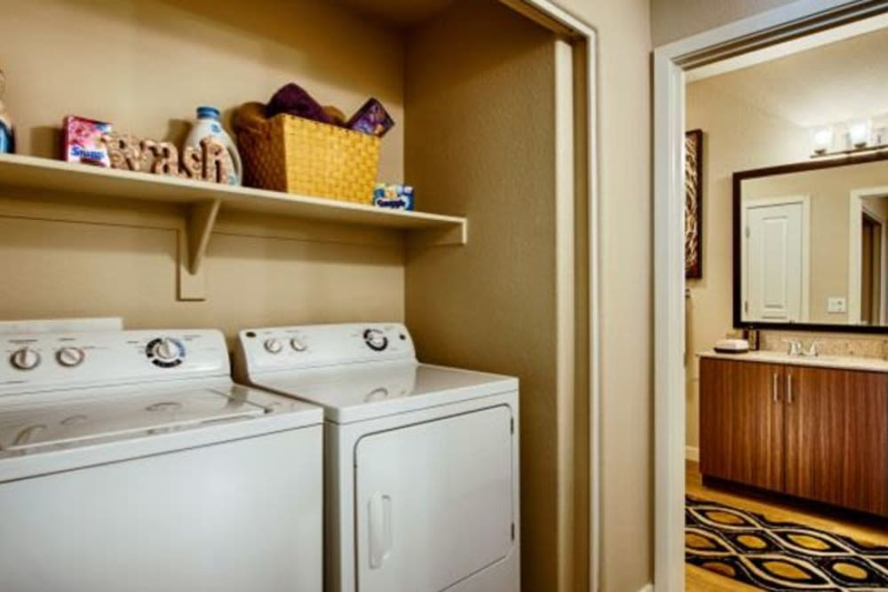 Full-size washer and dryer in a model apartment at Elevation Chandler in Chandler, Arizona