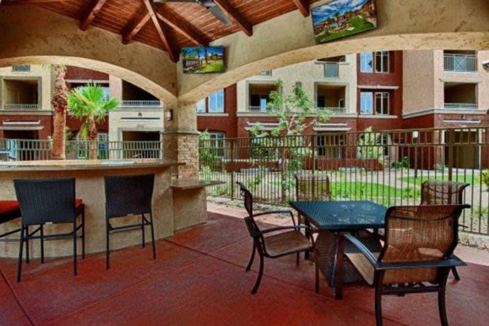 Covered outdoor lounge at Elevation Chandler in Chandler, Arizona