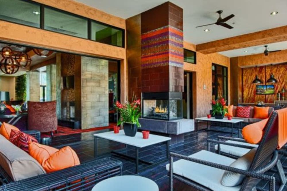 Ceiling fans and comfortable furniture at the outdoor lounge at Elevation Chandler in Chandler, Arizona