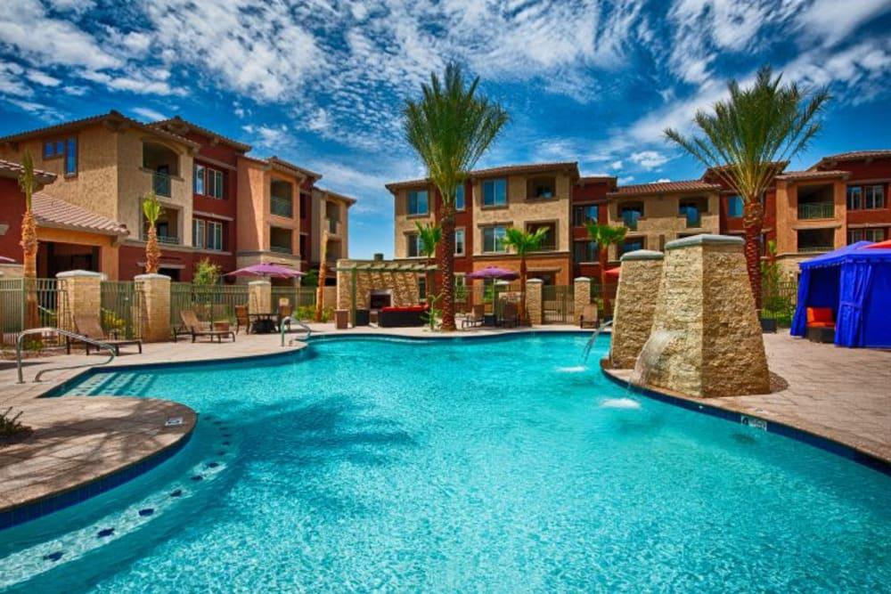 Resort-style swimming pool at Elevation Chandler in Chandler, Arizona