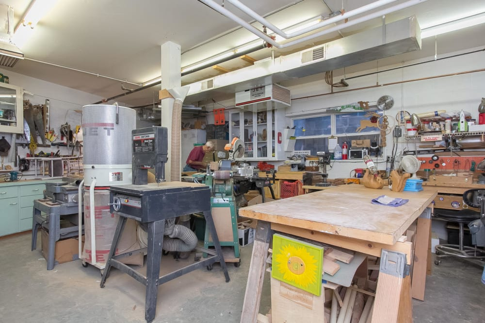 The woodshop at Applewood Pointe Bloomington community in Bloomington,  Minnesota.