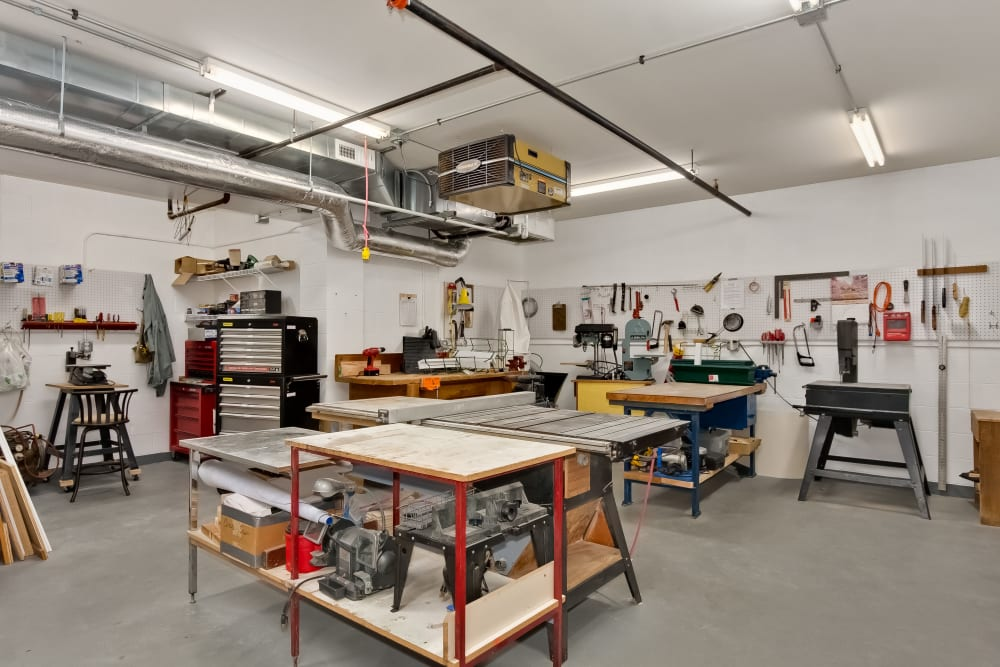 The woodshop at Applewood Pointe of Bloomington at Southtown in Bloomington, Minnesota.