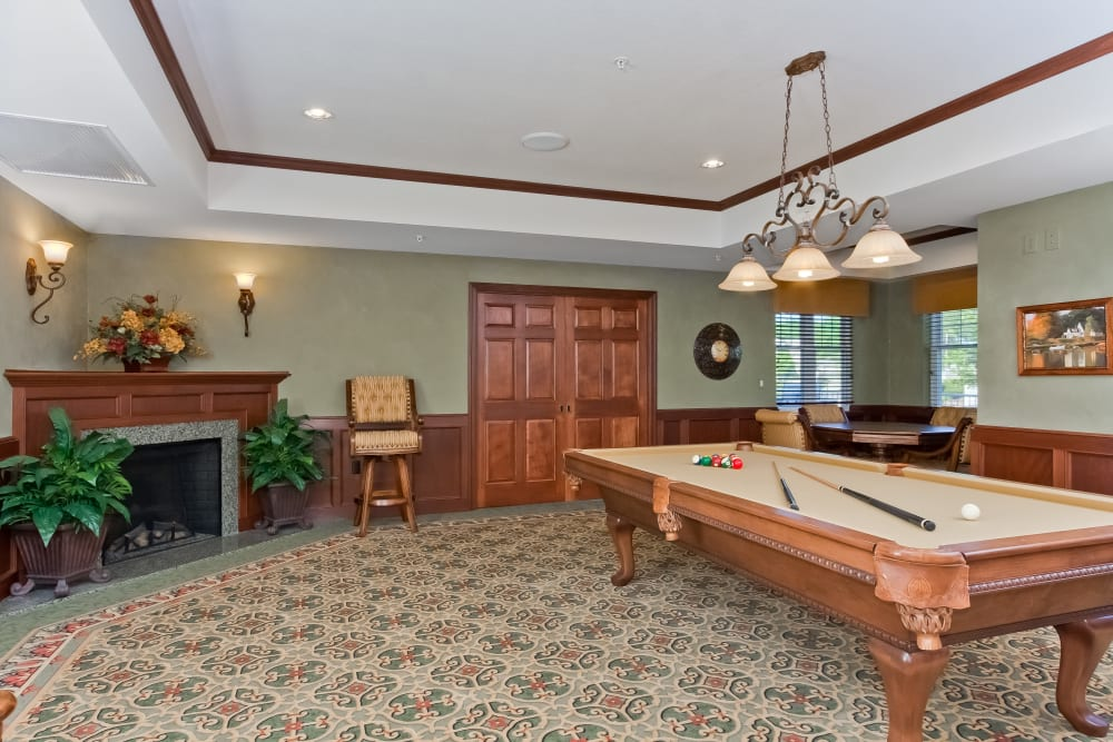 A pool table at Applewood Pointe Bloomington at Southtown in Bloomington, Minnesota.