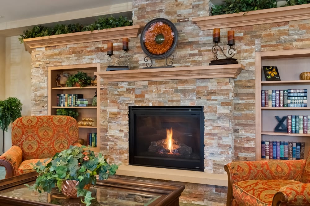 A fireplace at Applewood Pointe of Bloomington at Southtown in Bloomington, Minnesota.
