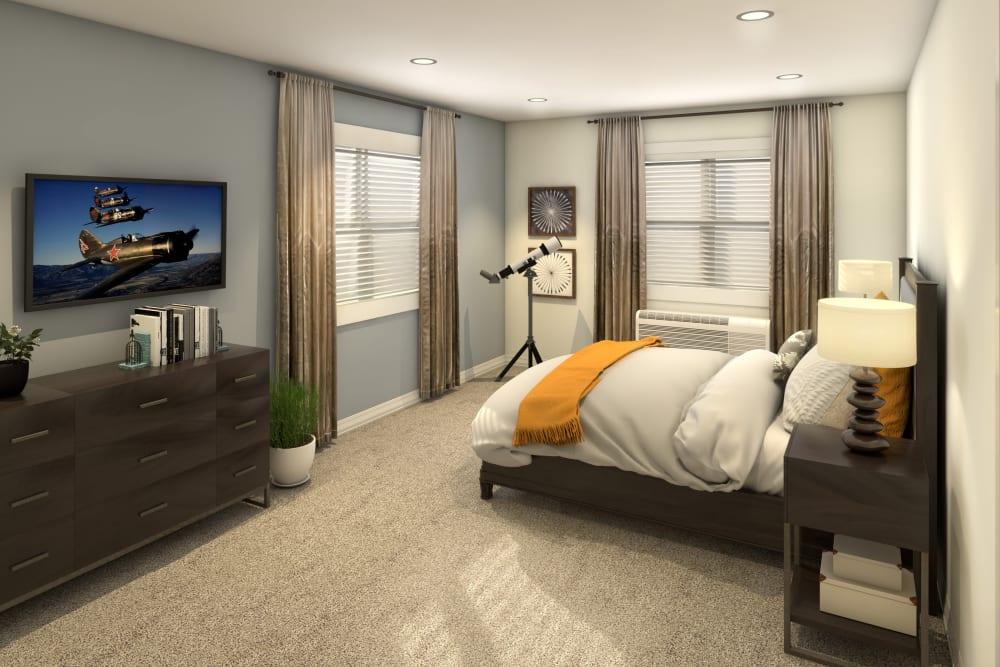 Bedroom with large windows at Anthology of Olathe in Olathe, Kansas.