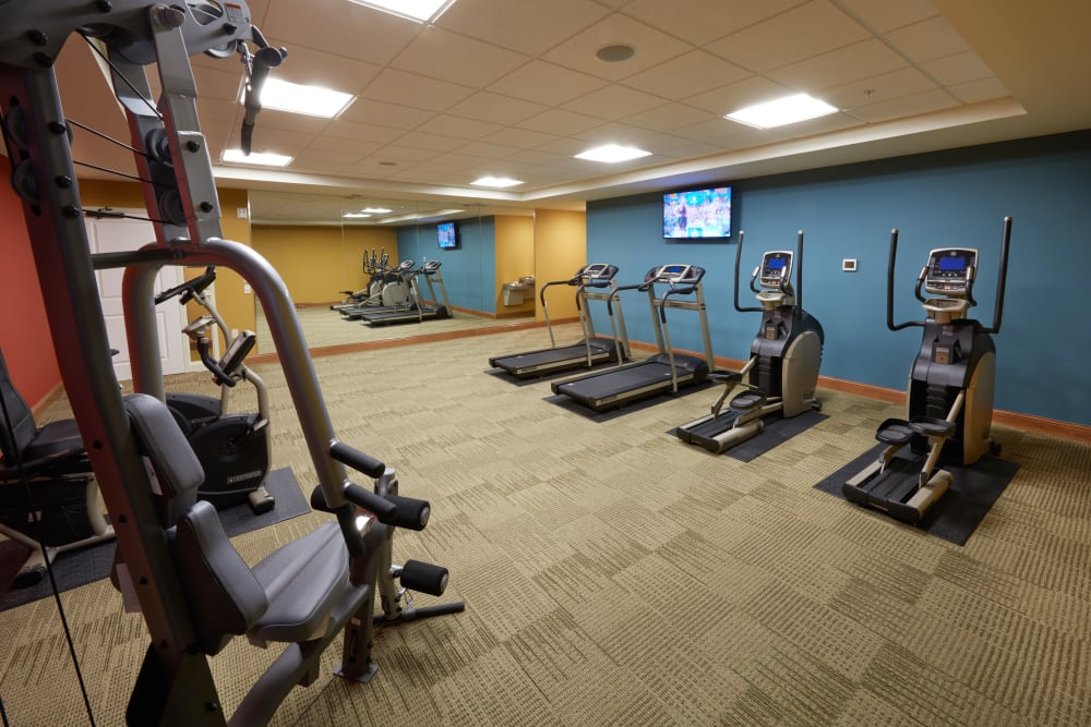 Fitness room at Applewood Pointe Bloomington at Valley West in Bloomington, Minnesota.