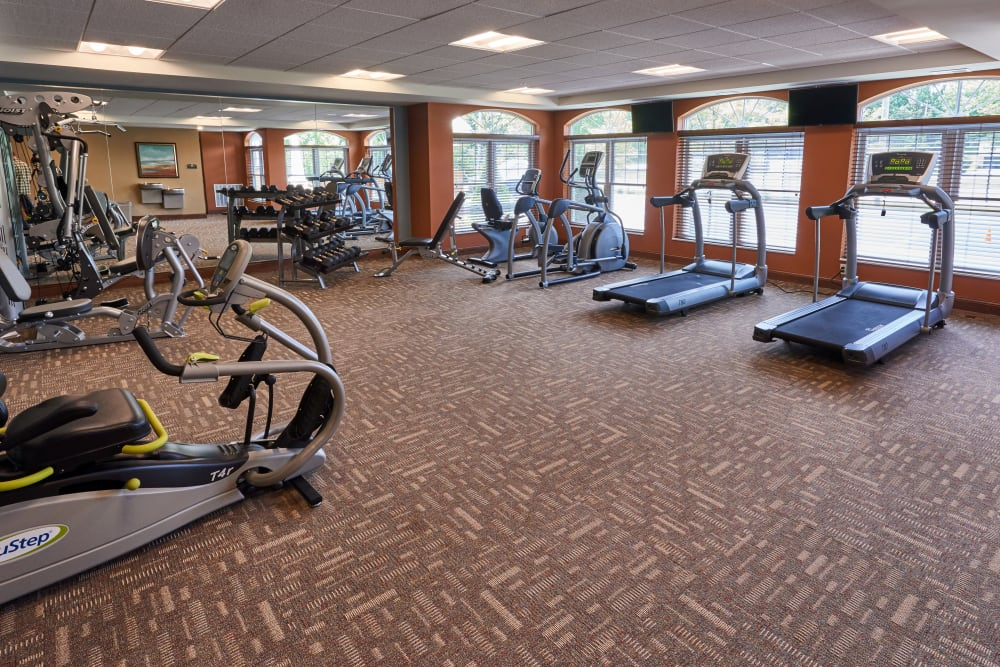 Fitness room at Applewood Pointe Champlin in Champlin, Minnesota.