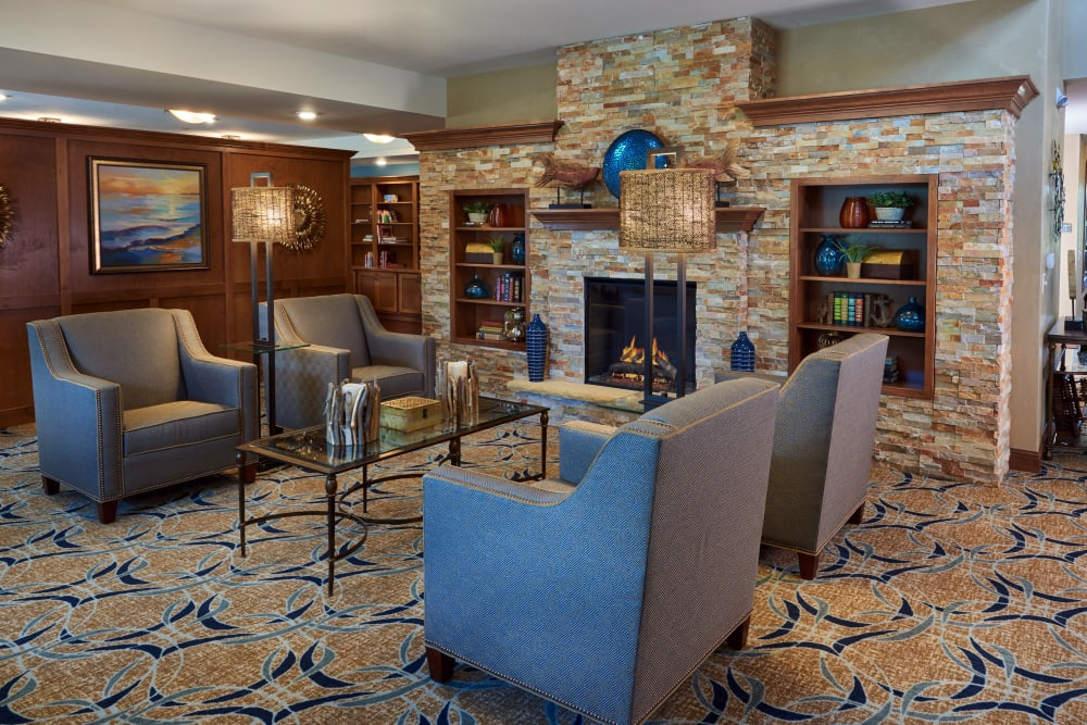 Fireside seating at Applewood Pointe Champlin in Champlin, Minnesota.