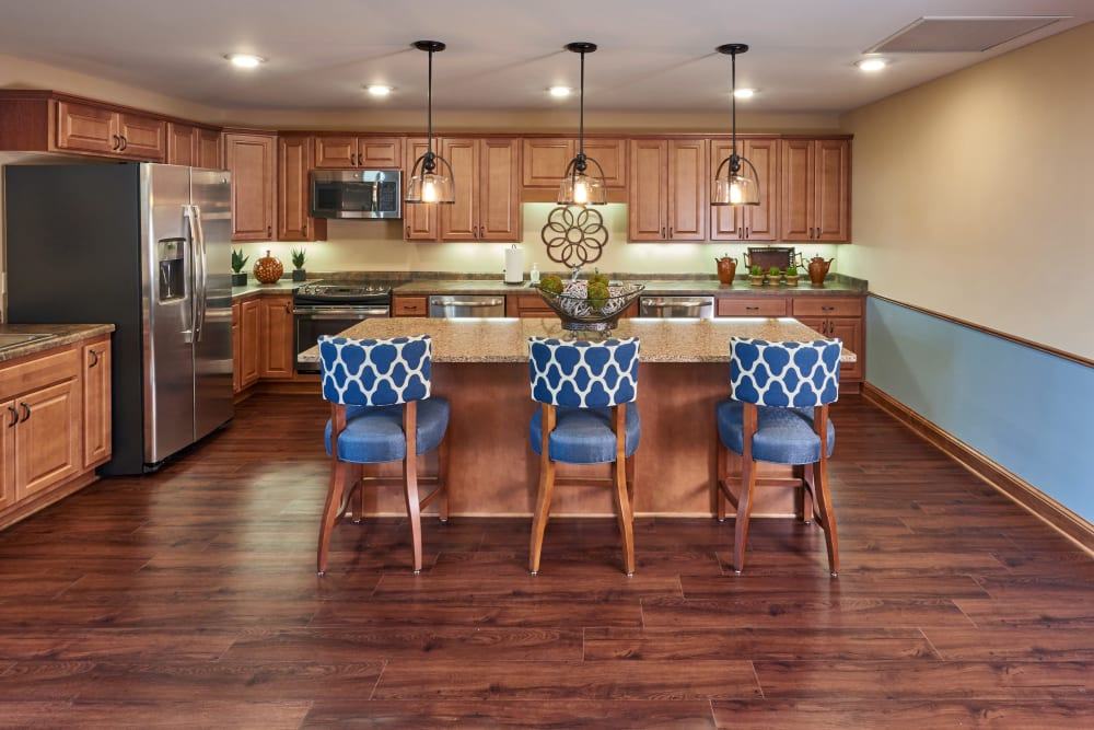 The great room kitchen at Applewood Pointe Champlin in Champlin, Minnesota.