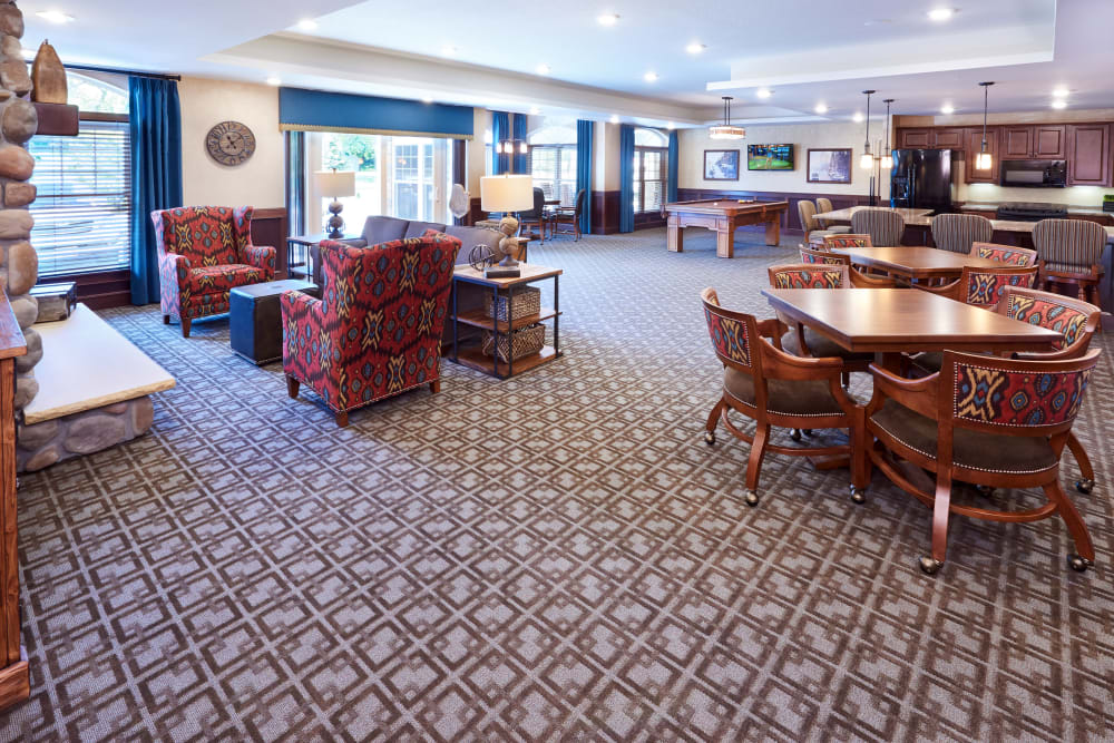 The club room at Applewood Pointe Champlin in Champlin, Minnesota.