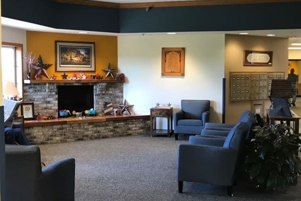 Main lobby with fireplace at Lawton Senior Living in Lawton, Iowa.