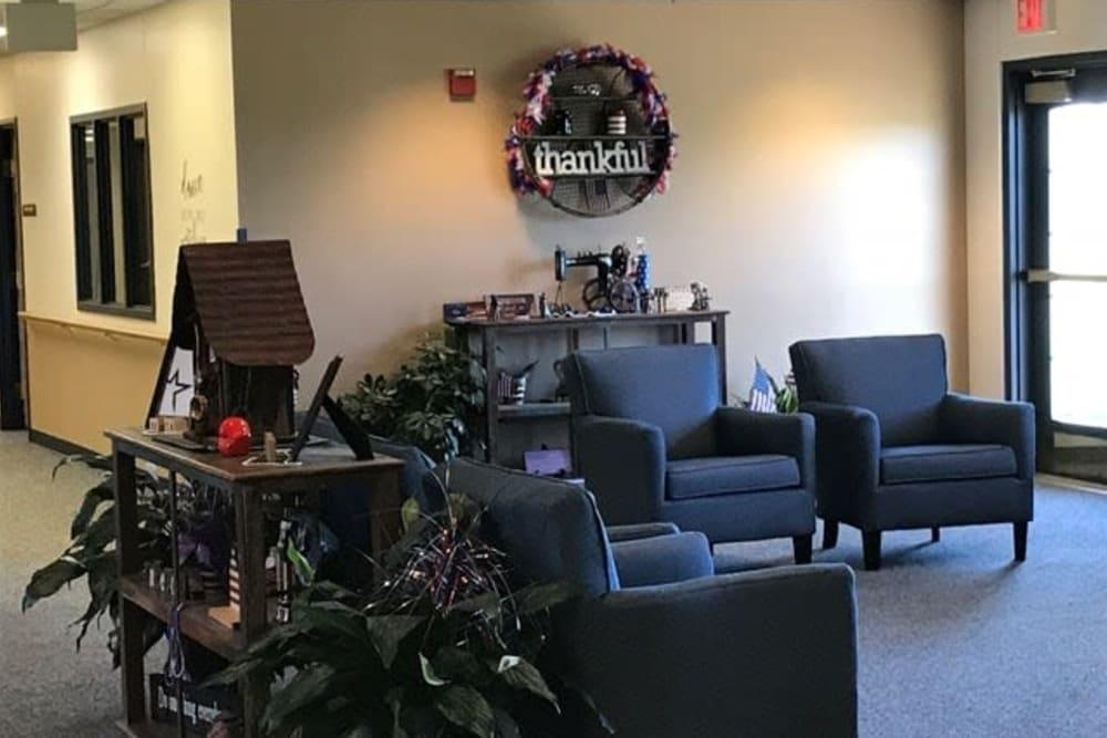 Main entrance and lobby area at Lawton Senior Living in Lawton, Iowa.